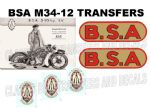BSA M34 1930's Transfer Decal Set DBSA147